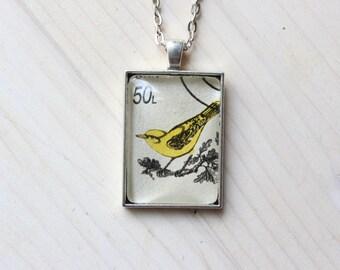 Yellow Bird, Old Romanian Stamp