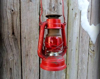 VINTAGE RED Oil LANTERN with Red  Glass - Wall Hanging Hook Option Available - Oil Lamp - Rustic decor Outdoor Light In working Condition -