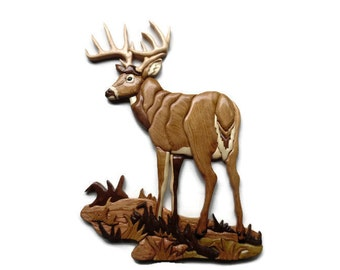 Whitetail Buck- wooden wall hanging- scrollsaw- intarsia- carving- natural wood - cabin decor- gift for hunter- gift for  lover of wildlife