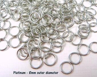 8mm Platinum, Antiqued Silver Jump Rings - 18 gauge Antiqued Silver, Platinum Jump Rings - Select Qty. from Options (8mm/18g-PL)