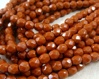 Czech Beads, 4mm Czech Glass Fire Polished Beads, 4mm Faceted Round Beads - Burnt Umber (FP4/SM-13610) - Qty 50