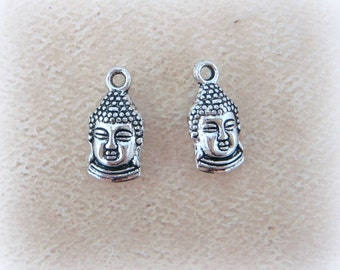 Silver Buddah Charms, Double Sided Charms - Antiqued Silver - 16x8mm - Qty. 8