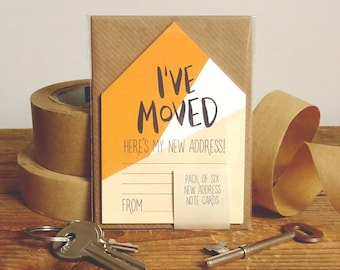 New Address Cards Pack Of 6 Miniature Houses 'I've Moved' // New Address Note Cards // Moving Cards // Change Of Address