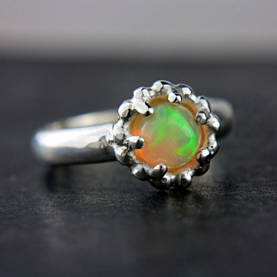 Opal Engagement Ring Natural Welo Opal Ring Sterling Silver