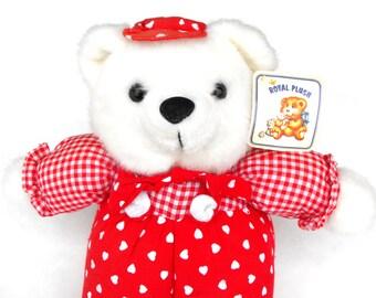 1970s Royal Plush Bear Toy Red Gingham Felt Button Overalls White Fur Polar Cub Valentine Heart Hat Baby Boy Gift Child's Room Nursery Decor