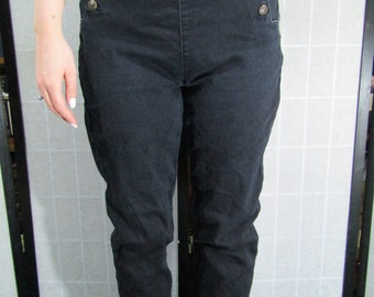 Denim Drop Front Pants, Sailor Dungarees, Pirate Pants
