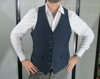 Navy Blue/ Light Grey Reversible Waistcoat