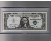 1957 Uncirculated One Dollar (1.00) Blue Seal Authentic Silver Certificate
