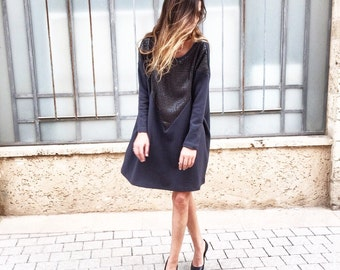 SALE! - Gray oversize day to night dress with pockets\ dress \ loss dress \ dress with sequin
