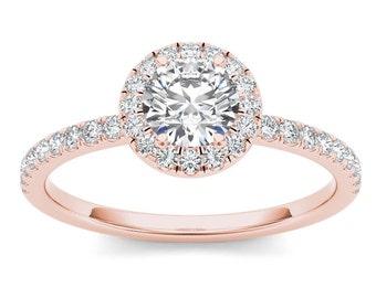 14Kt Rose Gold 0.75 Ct Diamond Halo Engagement Ring