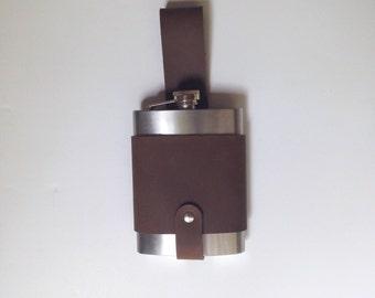 Leather Belt Flask and Hip Holster Holder Case