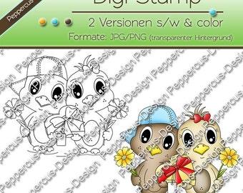Digi stamp set - birdie with chocolates / E0026