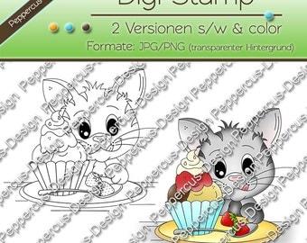 Digi stamp set - cat with ice / E0032