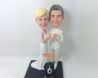 View Wedding Cake Topper by Hellominime on Etsy