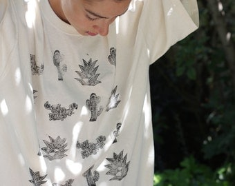 Handprinted from linoblock cotton T-Shirt/ cactus and succulents/ teesontrees