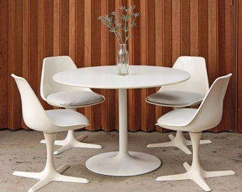 RESERVED - 4 Burke Dining Chairs - Swivel Tulip Chairs Mid Century