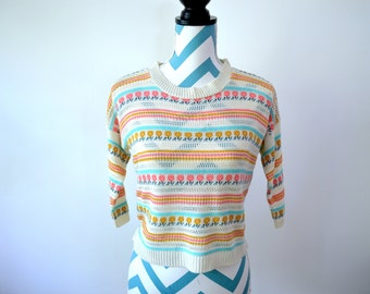 Vintage 70s Knit Sweater Folk Hippie Floral Small