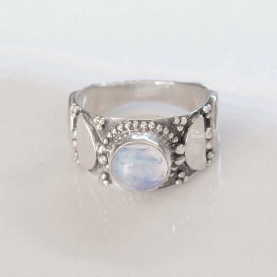 Rings -Gift for her Rainbow Moonstone Boho  Ring Rainbow Moonstone Sterling Silver Ring Hand Crafted Bohemian Ring-Bohemian Ring