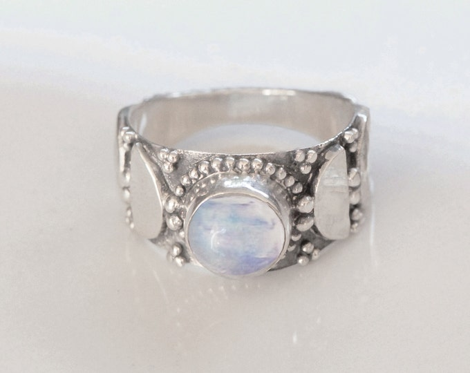 Rainbow Moonstone Ring, Boho Ring, Bohemian Rings, Moon Ring, Sterling SIlver Ring, Gemstone Rings, Gypsy Ring, Festival Fashion, Don Biu