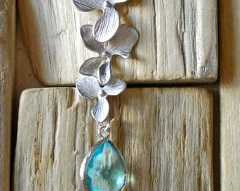 White Gold Orchid Necklace with Glass Pendant.