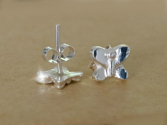 Butterfly Earrings, Silver Butterfly Stud Earrings, Tiny Butterfly Earrings, Everyday Stud Earrings, Nature Jewellery, Silver Studs