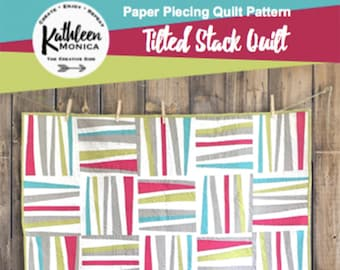 Tilted Stack Quilt Pattern - Foundation Piecing Pattern