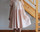 Linen dress Peach linen dress White linen dress Yellow linen dress Beige Coffee Milk Sky Blue dress Oversize dress Round neckline dress