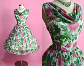 """1950's Vintage Cowl Collar Full Skirt Floral Print White Bright Pink and Green Party Dress Prom Cocktail Dress 28"""" Waist Medium"""