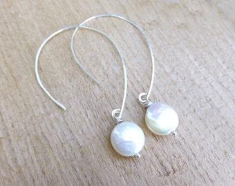 Pearl Hoop Earrings, Freshwater Pearl Earring, Bridesmaid Pearl Earrings Gift, Sterling Silver Real Pearl Earrings, Large White Coin Pearls