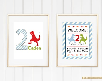 Dinosaur Welcome Signs, DinoMite Birthday Party, Red and Blue Dino Printable, Dinosaur Door Sign, Stomp & Roar On In, Dino Party Decor, #40