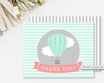 Hot Air Balloon Thank You Card, Travel Baby Shower, Printable Thank You, Mint and Coral, Girl Baby Shower, INSTANT DOWNLOAD, #A3