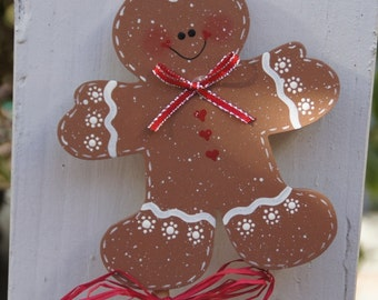Gingerbread Boy Plant Stick - Wood Christmas Indoor or Outdoor Decoration