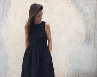 Black Midi Dress, Little Black Dress, Black Bridesmaid Dress, Party Dress, Cotton Dress, Sleeveless Dress, Flare Dress, Japanese Style