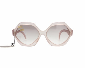 Guy Laroche super funky matte - frosted light - translucent pink oversized hexagonal sunglasses made in France in the 70s.