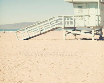 California Beach Photography, Santa Monica Photograph, Los Angeles print, Lifeguard wall art, Surf Decor, Boho Style, Pastel Large Print