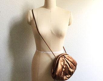 Bronze Metallic Messenger - Vintage Prom - Ruche Bag - Boho Prom - 80s 90s