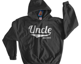 Uncle Since New Baby Announcement Family Brother christmas Gift Idea Screen Printed Hoodie Hooded Sweatshirt Mens Womens Ladies Funny Geek