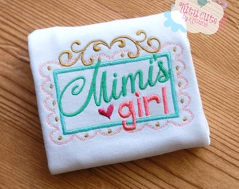 Girls Personalized T-Shirt, Mimi's Girl, Sizes from 0-3 months to size 8, Grandma's girl, Baby Shower Gift, Photo prop, Toddler kids