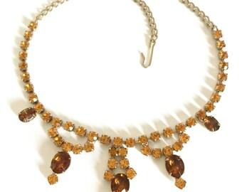 Rhinestone Bib Necklace, Mink and Topaz Rhinestones, Six Mink Ovals and Topaz Round Cut Chain, Gold Tone, Wedding Jewelry, Special Occasion