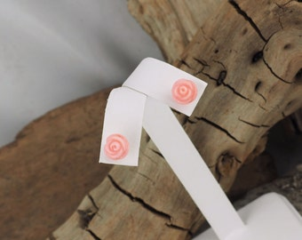 Sterling Silver Post Earrings - Natural Pink Coral Rose Earrings - 8mm Pink Coral Roses on Sterling Silver Posts