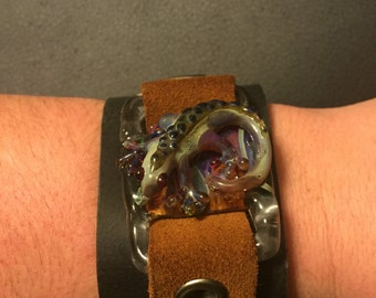 Leather Cuff with Glass Lizard