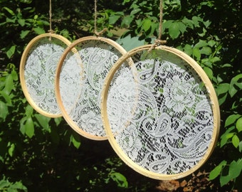 Lace Embroidery Hoop Wedding Decor, Set of 3 10-inch