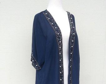 Navy Bead Embellished Edging Kimono Cardigan