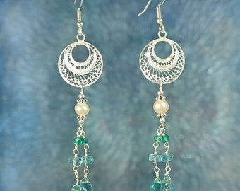 Electric Blue Apatite & Pearl Beaded Sterling Silver Earrings SE235