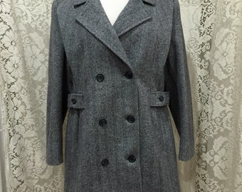 Vintage 1960s Gray Herringbone Wool Judi Rich Double Breasted Coat