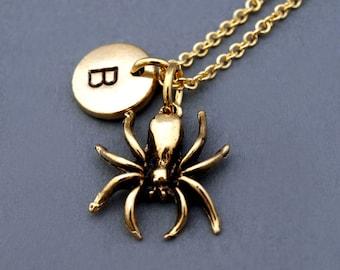 Spider necklace, Gold spider charm necklace, gold spider charm jewelry, Spider 3D, initial necklace, personalized, monogram