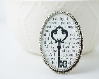 Literary Jewelry - Secret Garden Book Brooch - Skeleton Key Jewelry - Book Lovers - Secret Garden Jewelry - Gifts for Readers