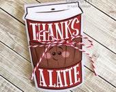 Thanks A Latte Printable Gift Card Holder
