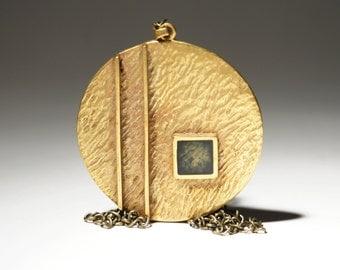Bernard Chaudron Necklace - Large Bronze Enamel Pendant - Geometric Cubist - Brutalist Modernist - Quebec Canada  -1960-70