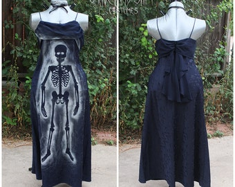 Navy Blue Skeleton Zombie dress Gown Halloween costume Zombie costume Dead Movie Star zombie Prom queen Zombie Marilyn Plus Size 18